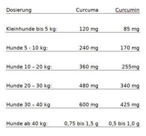 Dosierung Hunde Curcuma Curcumin