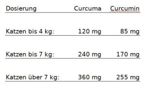 Dosierung Curcumin Katzen Curcuma